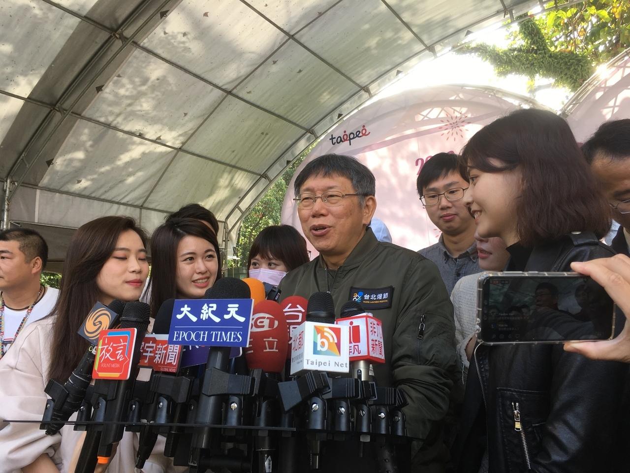 台北市長柯文哲出席「2020士林官邸鬱金香展」。記者張世杰/攝影