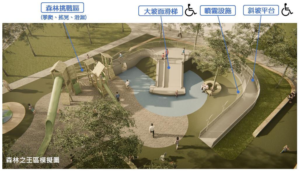 大安森林公園遊戲場「森林之王」遊具模擬圖。圖/台北市公園處提供