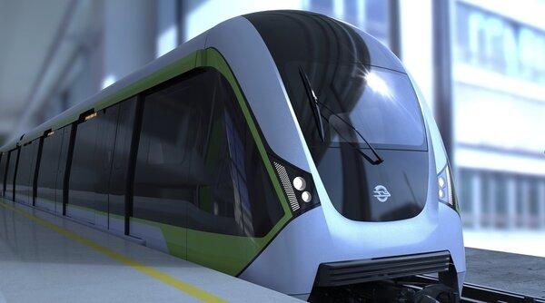捷運綠線車廂外型設計,通車後示意圖。圖/捷工局提供。