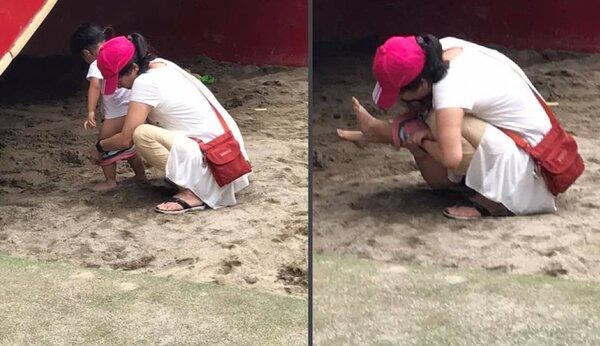 有民眾讓孩童在兒童玩沙區上直接便溺,讓網友直呼不可思議。圖/擷自「我是永和人」社團。