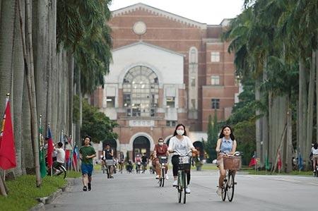 英國高等教育調查公司QS10日公布「2021世界大學排行」,台灣大學名列66,是台灣唯一列全球前百大的學府,比去年的69名再進步,創下台大歷年來最好的排名,學生悠閒騎著腳踏車行經椰林大道。(陳怡誠攝)