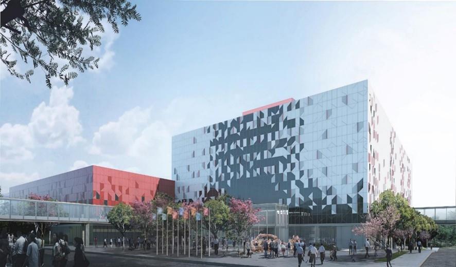 桃園會展中心預計111年10月展覽館完工,112年5月全棟啟用,打造桃園首座國際化會議中心指標建築。圖/桃園市政府提供