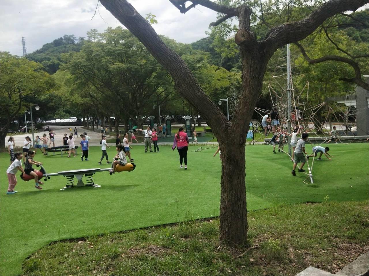 「我們都被電到」公園新設施好玩,兒童頻被電原因費解。記者游明煌/攝影