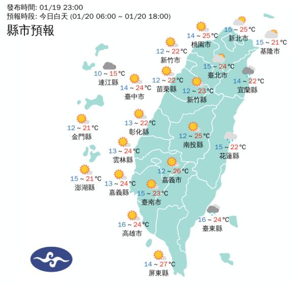 20日白天各地天氣。圖/取自氣象局網站