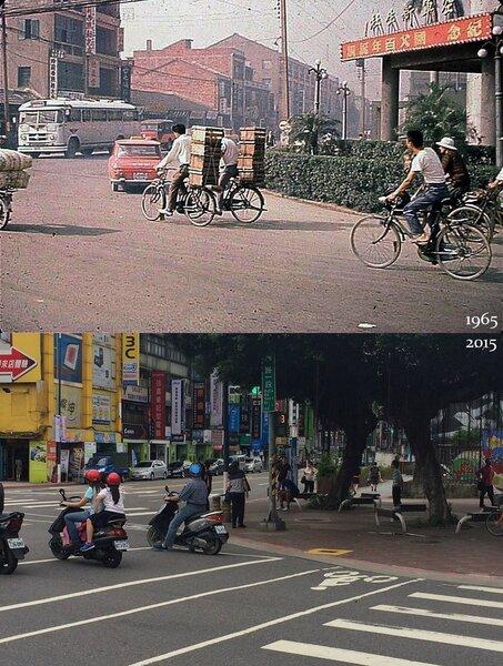 台北市八德路與新生南路口1965 vs. 2015。(張哲生攝製)