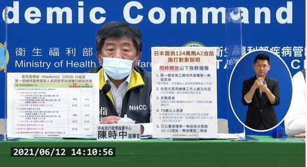指揮中心公布日本捐贈124萬劑疫苗施打對象。圖/取自疾管署直播畫面