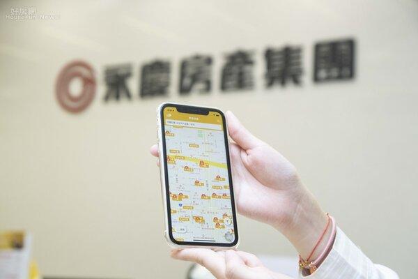 永慶快搜App中「實境找房」功能,與google map 結合,在家也可以指上探索物件周圍生活圈。圖/永慶房屋提供