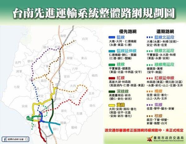 台南捷運路網正在進行規劃。圖/台南市政府提供