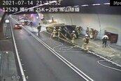 國5雪隧晚間火燒車 南下暫封閉救災