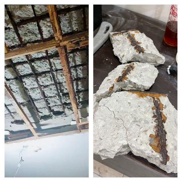 左圖 : 天花板鋼筋鏽蝕。右圖 : 氯離子含量高達5.125kg/m3。