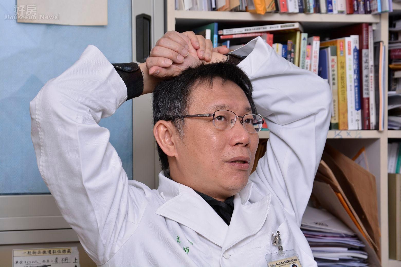 台大醫師柯文哲,民進黨台北市長黨內初選候選人,談到兒女時無奈的感嘆工作繁忙,陪伴兒女時間甚少。(好房News記者 陳韋帆/攝影)