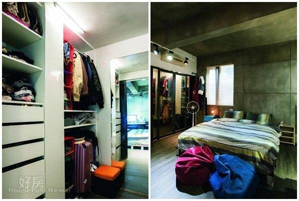 4. 更衣室擔負著大部分收納的重責大任。 5. 臥房利用床頭壁面的仿清水模設計