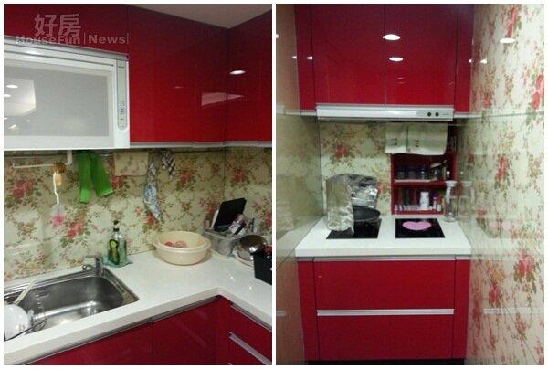 3.廚具選用大紅色,象徵運氣與爐火一樣旺。 4.ㄇ字型設計可以幫女主人守住錢財。
