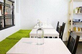 餐椅舖上仿草皮的綠毯子。