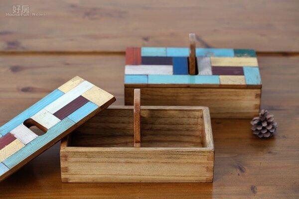 5.撞色拼貼的收納木盒是台灣設計師的作品。