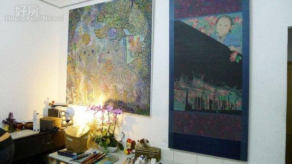 3.用七彩的顏料和自己的作品,讓小小的畫室也有屬於她的風格。