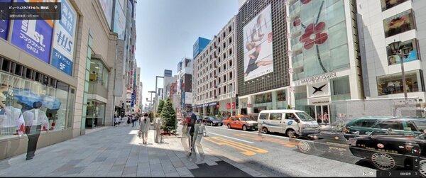 日本銀座地區。(翻攝自Google Map)