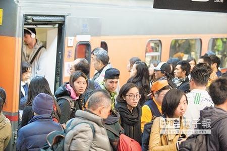 生活新聞收假了元旦4天假期結束,昨天鐵公路輸運正常。台鐵輸運人次為83.6萬,是連假中最多的一天(上圖)。台北車站湧入許多拖著大包小包的收假人潮(左圖)。(林后駿攝)
