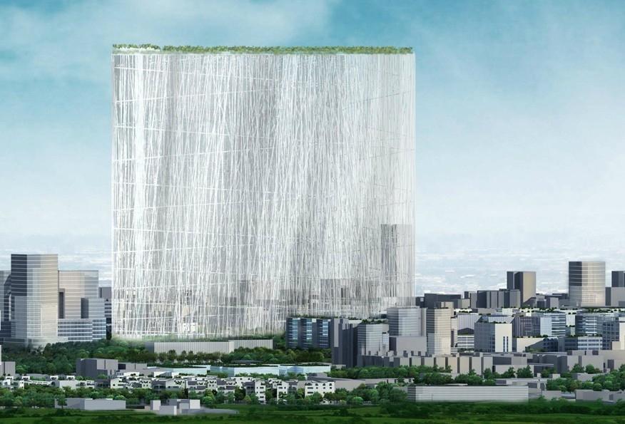 新任台中市長林佳龍宣布暫緩執行「台灣塔」工程。(截取自台塔國際競圖網站)