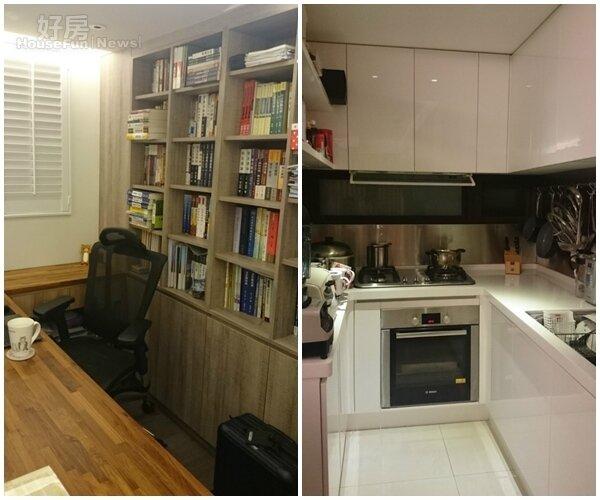 4.因為回家後常得加班處理案件,所以特別規劃出書房的空間。 5.廚房採開放式,簡潔明亮。