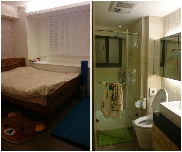 6.主臥的佈置溫馨舒適。 7.衛浴採用乾濕分離。