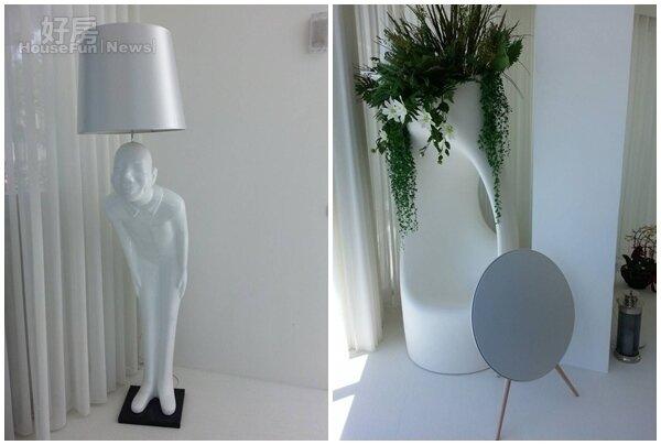 6.迎賓先生燈具也很有造型。  8.角落的白色巨型花器,也是王仁甫精挑細選的。