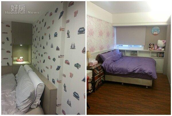 5.兒子的房間是汽車的天下,壁紙、擺設都可看到。 6.女兒房是白牆加上粉紅色碎花璧紙,還有Hello Kitty娃娃,很有小女生風格。