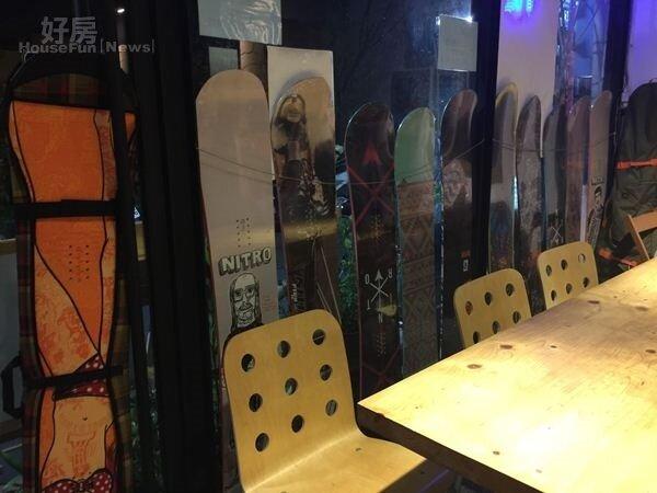 6.滑雪教練MAX熱愛滑雪,餐廳內也隨處可見滑雪板,成了運動風的布置。