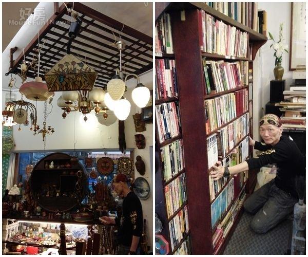 4、日據時代的窗欞,被阿威拿來裝飾天花板並吊上各式台灣早期燈座。 5、雙層可拖拉的書架,是專職木匠的哥哥特別為阿威量身訂做的,非常好用。