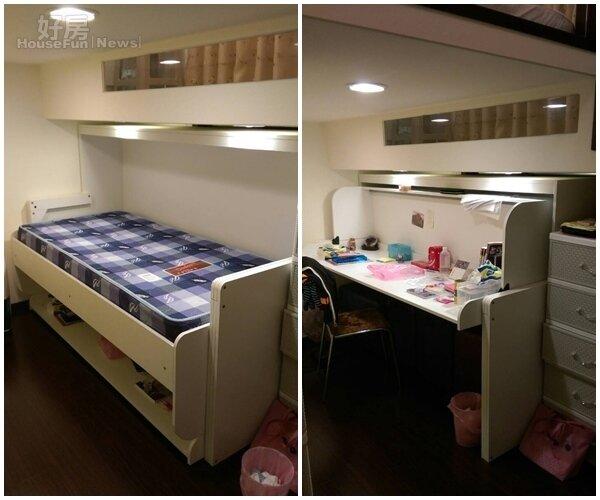 3.徐新寧最滿意大女兒房間,採特殊夾層式設計,其中書桌還可搖身變成單人床,全家人都稱這設計為變形金剛。